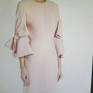 Midi bow not sleeve dress